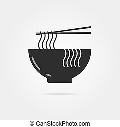 black bowl icon with chinese noodles and shadow. concept of ...