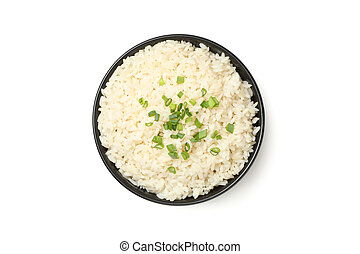 Black bowl with rice isolated on white background