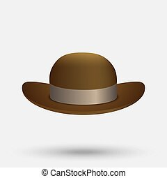 black bowler hat - bowler hat on a white background Vector...
