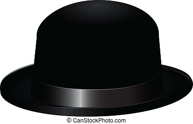 Black bowler hat, also known as a bob hat. Vector...