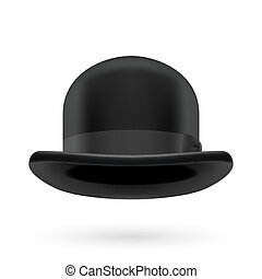Black bowler hat - Black round traditional hat with hatband...