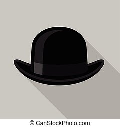 Black bowler hat icon, flat style