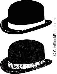 black , bowler hoed