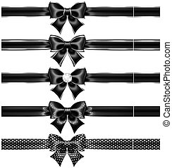 Black bows with silver and ribbons - Vector illustration -...
