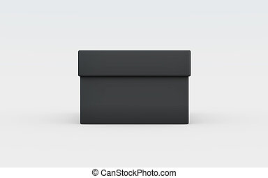 black box front view - black cardboard material of rectangle...
