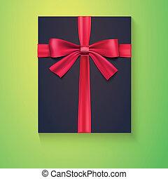 Black box, red ribbon, bow