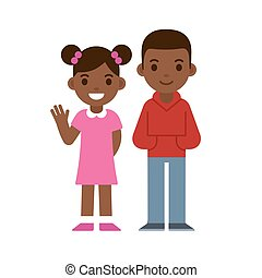 Black boy and girl - Cute cartoon black children smiling and...