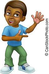 Black Boy Cartoon Character Child Kid Pointing
