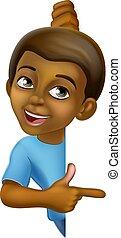 Black Boy Cartoon Child Kid Pointing Sign