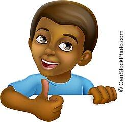 Black Boy Cartoon Child Kid Thumbs Up Sign