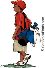 Dark skinned young boy golfer carrying his golf bag with golf clubs down the fairway. Global colors & layers used for easy editing.