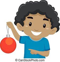 Black Boy Holding a Red Christmas Ball