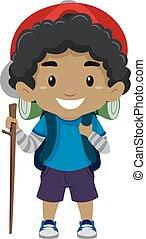 Black Boy in camping costume