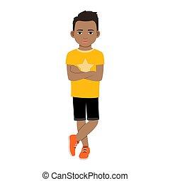 Black boy in yellow t-shirt