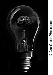 Black brain inside light bulb on black background