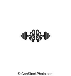 Black brain with dumbbells icon. Intellect, phsychology, knowledge simple pictogram isolated on white.