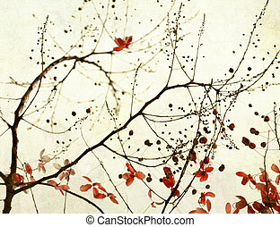 Black Branches and Stark Red Flowers on Paper Art Background