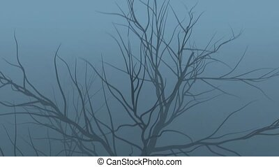 Black branches of an old tree in motion in the fog on a gray background HD 1920x1080