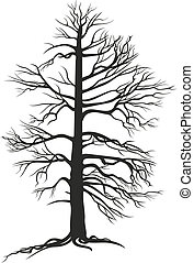 black branchy tree with roots