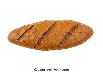 black bread isolated on white background