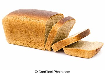 black bread loaf on a white background.