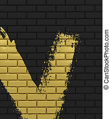 Black brick wall background with gold brushstroke 3D illustration