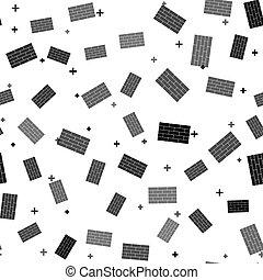 Black Bricks icon isolated seamless pattern on white background. Vector Illustration