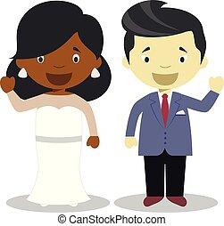 Black bride and oriental bridegroom Interracial newlywed couple in cartoon style Vector illustration