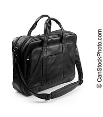 black briefcase - A black leather briefcase on a white...