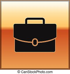 Black Briefcase icon isolated on gold background. Business case sign. Business portfolio. Vector Illustration