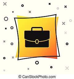 Black Briefcase icon isolated on white background. Business case sign. Business portfolio. Yellow square button. Vector Illustration