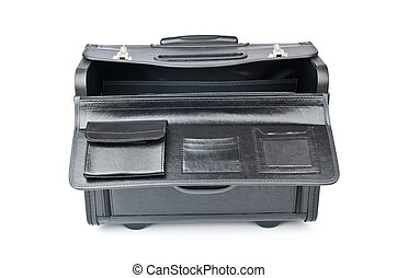 Black briefcase isolated on the white