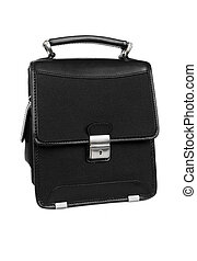 Black briefcase isolated