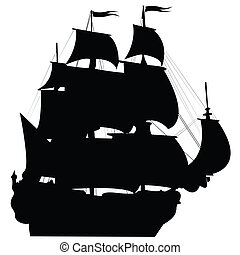Black Brigantine Silhouette - Perspective view of an old...