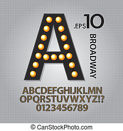 Black Broadway Alphabet and Numbers Vector