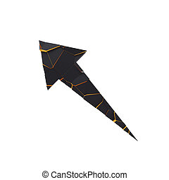 Black broken arrow pointer with reflection