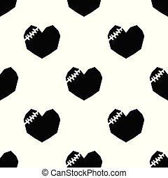 Black broken heart on white background.