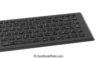 Black broken keyboard with cracks isolated on white background
