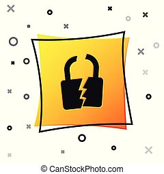 Black Broken or cracked lock icon isolated on white background. Unlock sign. Yellow square button. Vector Illustration