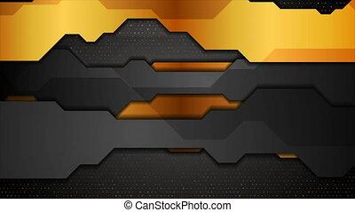 Black bronze tech geometric abstract motion background