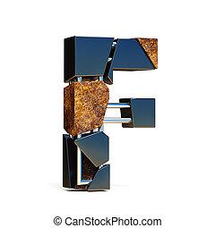 Black brown fracture font LETTER F 3D