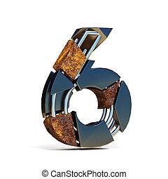 Black brown fracture font number 6 SIX 3D
