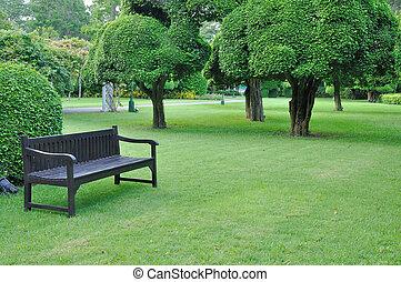 Black brown in beautiful garden with big trees.