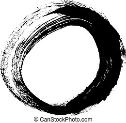Black brush stroke in the form of a circle. Drawing created...