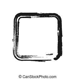 Black brush stroke in the form of square. Vector illustration