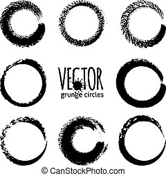 Black brush strokes grunge vector circles - Black brush...