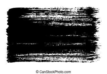 black brush strokes of paint on white background