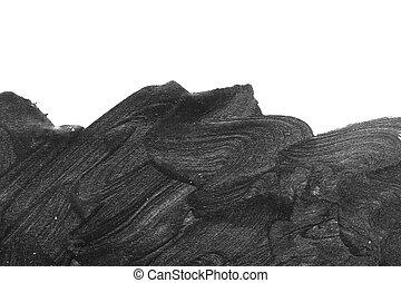 Black brush strokes on white paper isolated.