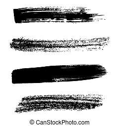 Black brush strokes - Various vector grunge black brush ...