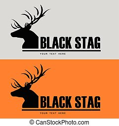 Black stag silhouette with beautiful horn Combine with the text. Suitable for community identity, product identity, corporate identity, illustration for apparel, clothing, illustration, etc